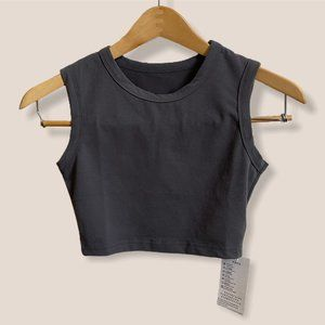 Petite Charcoal Cotton Sleeveless Cropped Tank Top